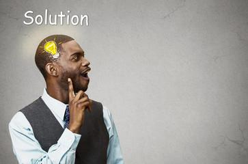 happy man thinking found solution for problem lightbulb