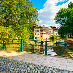 Strasbourg, water canal in Petite France area and bridge, Unesco