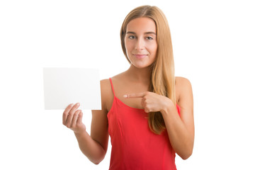 Woman Showing Blank Card