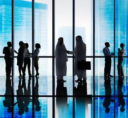 Middle Eastern Business People Office Handshake