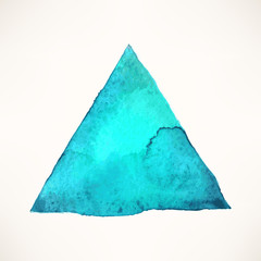 blue watercolor triangle background