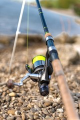 Modern clean fishing rod outdoors