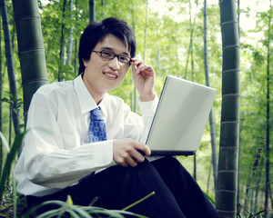 Businessman Working Outdoors Nature Concepts