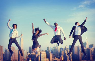 Business People Success Achievement City Jumping Concept