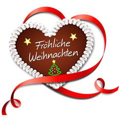 Lebkuchenherz mit Schleife - Fröhliche Weihnachten