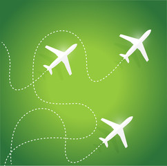 fly routes and airplanes. illustration design