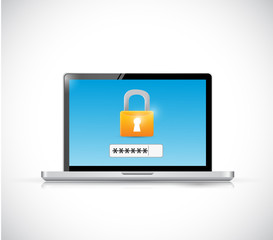 laptop login security concept illustration design