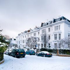 Snow coverd street in Kensington, London.