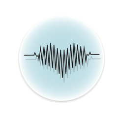 black heart beats with cardiogram icon