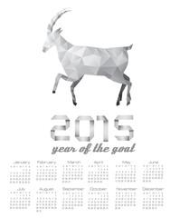 2015 calendar with a polygon goat. Vector.