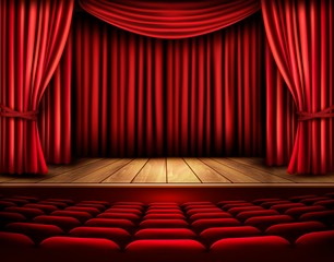 Cinema or theater scene with a curtain. Vector.