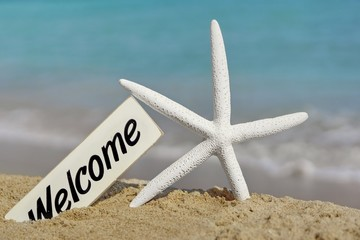 Welcome Signboard on the Sea Beach