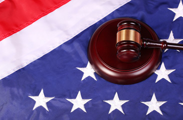 Judge Gavel and American Flag