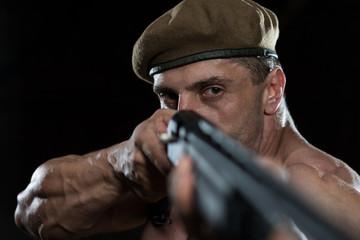 Soldier Drawing Machine Gun In Self Defense