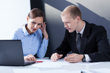 Businesspeople having problem at work