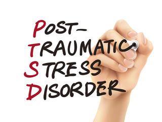 PTSD word written by 3d hand