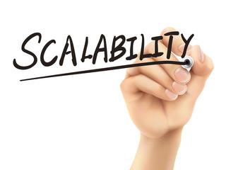 scalability word written by 3d hand