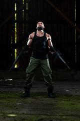 Dangerous Man Portrait With Machine Gun