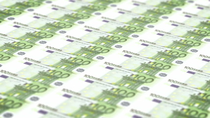 Money printing animation background with 100 euros bills