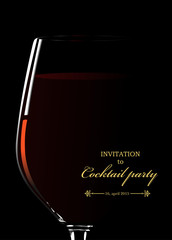 Glass of red wine. Invitation to cocktail party. Vector illustra