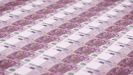 Money printing animation background with 500 euros bills