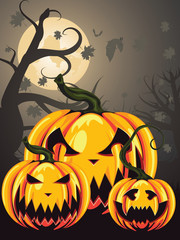 Scary Pumpkins in Forest