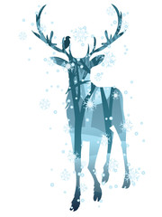 Stag Silhouette with Forest