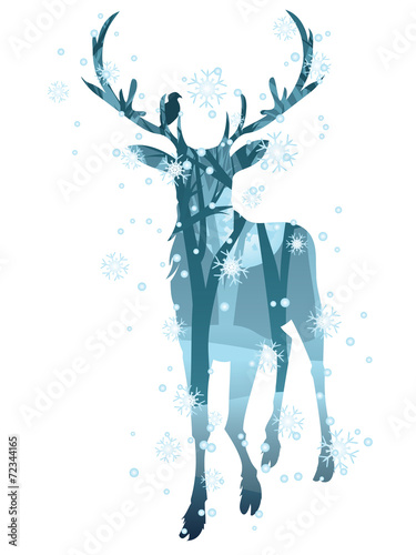 Stag Silhouette with Forest - 72344165