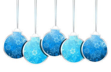 Vector illustration of Christmas labels made of balls.