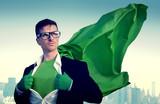 Superhero Businessman New York City Power Concept