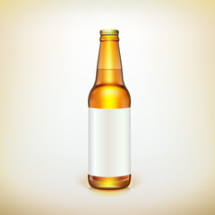 Glass beer brown bottle and label. Product packing.