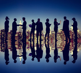 Business People New York City Night Silhouette Concept