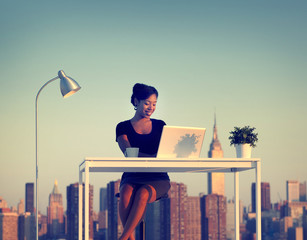 Businesswoman Working Outdoor New York Concept