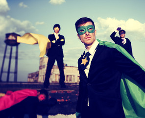 Business People Superhero Inspirations ConfidenceTeam Work Conc
