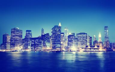 New York City Panorama Night Buildings Concept