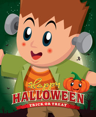 Vintage Halloween poster design with kid in costume