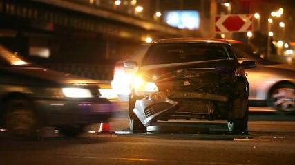 Crash  at night road