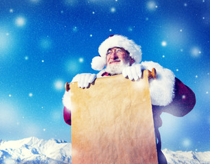 Santa Claus Christmas Holding Scroll Winter Concept