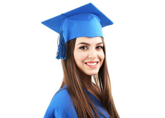 Woman graduate student wearing graduation hat and gown,