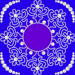 circular pattern with flowers made of pearls and place for