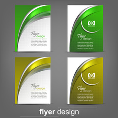 Set of business flyer template for cover design, document folder