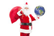 Santa Claus holding bag of presents and the earth