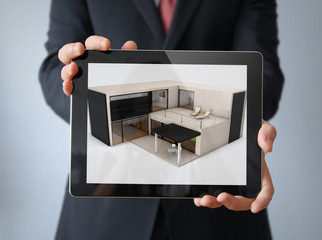 house design tablet businessman