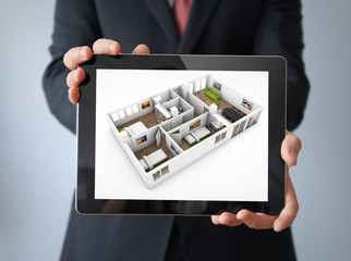 interior design tablet businessman
