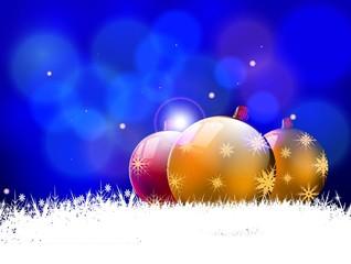 christmas background with christmas ball and snowflakes