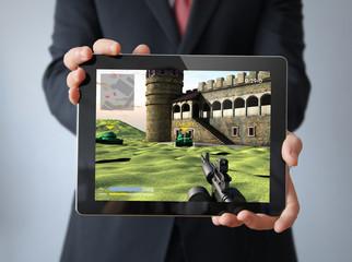 businessman with videogame tablet tablet
