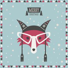 Christmas greeting card. Hipster fashion animal. Fox.