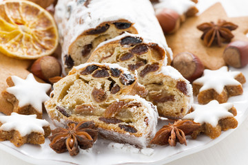 Christmas Stollen, assorted cookies and spices