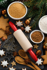 cookies and ingredients for Christmas baking, top view
