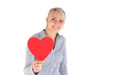 Frau mit Herz
